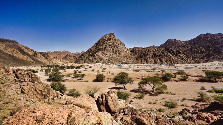 Scenic View Of Desert Landscape Against Clear Sky