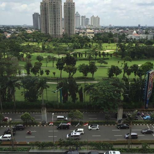 Nofilter Check This Out Hi! Cityview Golfcourt Hello World Senayan  Green Grass Fromhotelroom