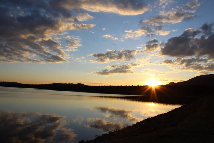 Sunset Mountain Lake Закат горы озеро Природа Nature