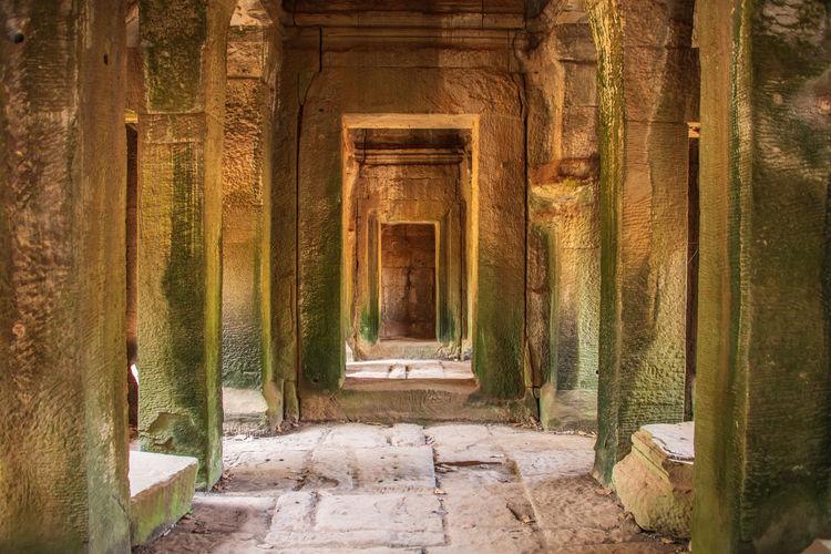 Hidden gunner in an angkor wat  temple