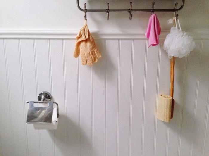 Rack in bathroom