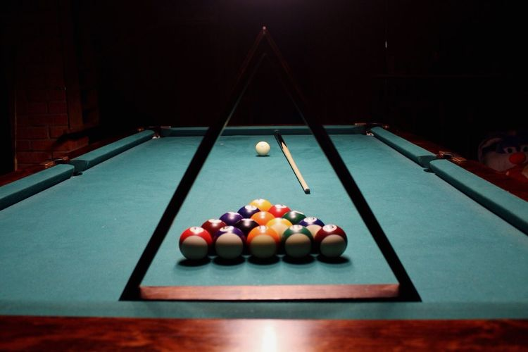 Balls Arranged On Pool Table