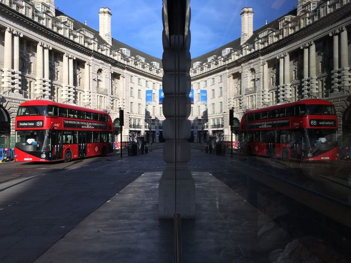 EyeEm LOST IN London Architecture Built Structure Building Exterior Red Sky Transportation Day Land Vehicle Outdoors Road City No People