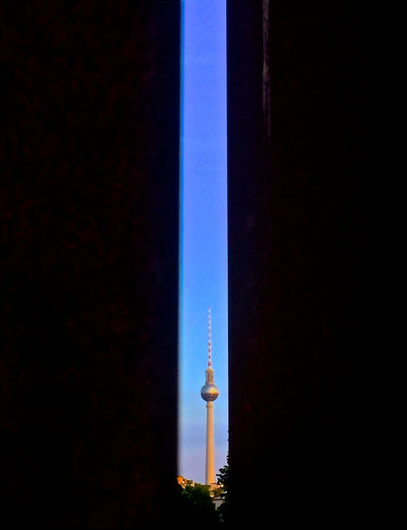 Architecture Berlin Photography Between The Lines Black Blue Sky Building Exterior Built Structure Clear View FAR AWAY Fernsehturm Berlin  Focus Illuminated Narrow Views No People On The Horizon Opening Outdoors Sky Television Tower Window Of Opportunity Background For Quotes Cover Photo Presentation Background