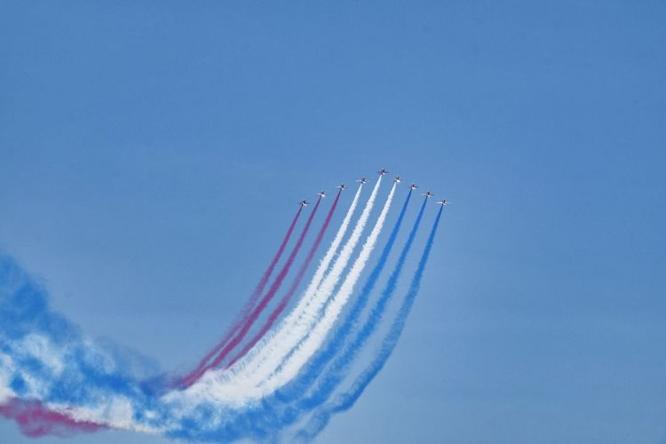 Red Arrows Airshow Airplane Air Vehicle on the move Sky Plane Fighter Plane Flying Military Airplane