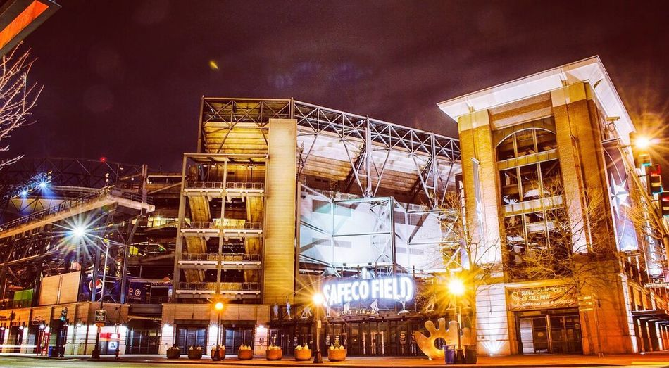 Safeco field Stadiums Americanleague Mariners Baseball Night Illuminated Built Structure Architecture Building Exterior Arts Culture And Entertainment Nightlife Outdoors Sky Cityscape Astronomy No People City