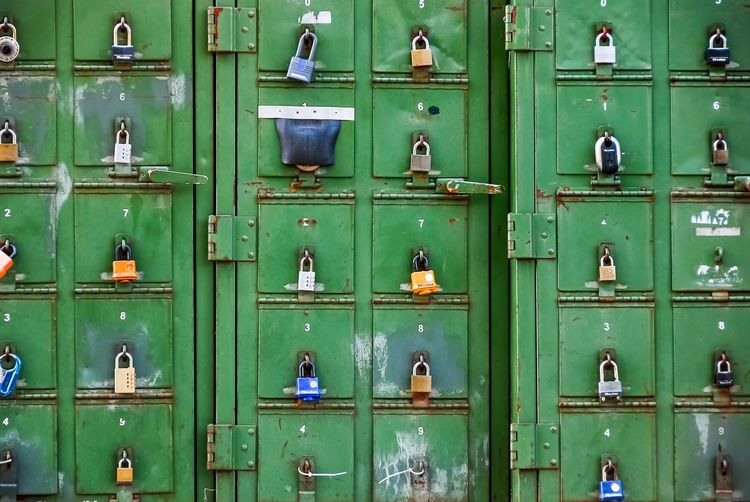 Full Frame Shot Of Locker With Padlocks