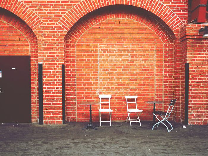 Brick Background Brick Building Brick Wall Brickwall Street Photography Urban Photography Urban Architecture Details Architectural Detail Architecture_collection Full Frame Fullframe Open Space Chairs Cafechairs Urbanphotography Wallpaper Wall Wall Textures Fasade Facades Façade Façadeporn Architecture Facade