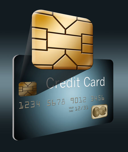 An EMV chip is seen in this illustration. EMV EMV Chip Isolated Security Security Bar Credit Card Generations Illustration Security Chip