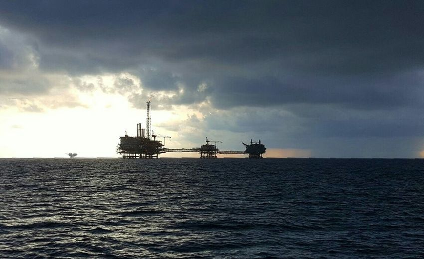 South China Sea before sunset Sea Oil Industry Offshore Platform Industry Sunset Water Outdoors Ocean View Morning Light Sky And Clouds Drilling Rig Platforms Nature Beautiful View Landscape Seascape Hello World Horizon Over Water Sea Business Finance And Industry Oil Industry Offshore Platform Industry Outdoors
