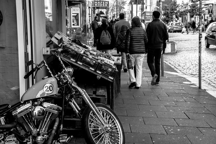the other corner in Hamburg.. Bicycle Black And White Blackandwhite City City Life City Life Fruits Hamburg Hamburger Ecken Kiez Monochrome Motorbike Motorcycle Motorcycles Nikon People Photography Reflection Schwarzweiß Sidewalk St. Pauli Street Street Photography Streetphoto_bw Streetphotography Urban Vegetables