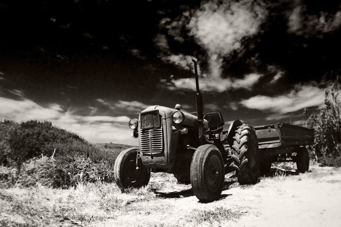 Summertime Agriculture Sky No People Old-fashioned Transportation Beauty In Nature Landscape Day High Noon Infrared Tractor Dalmatia