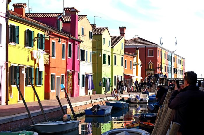 Burano and colours Building Exterior Outdoors Cloud - Sky Travel Destinations Water Reflections People Nautical Vessel Low Angle View Channel Boats On Water Colorfull