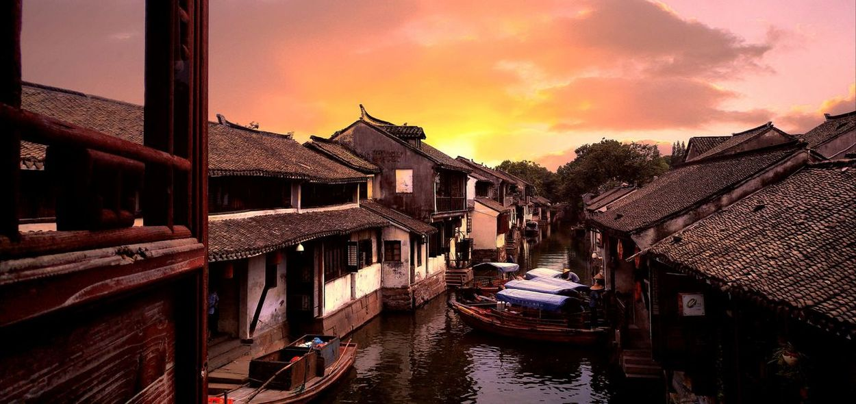 Zhouzhuang Chinatown Architecture Outdoors Water Travelling Village Life Village View China Town Travel Destinations Water Village Travel Traditional Culture Traditional Architecture