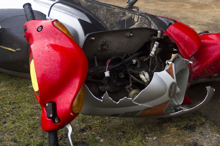 Close-up Damaged Dirty Moped Outdoors Red Schrott Still Life