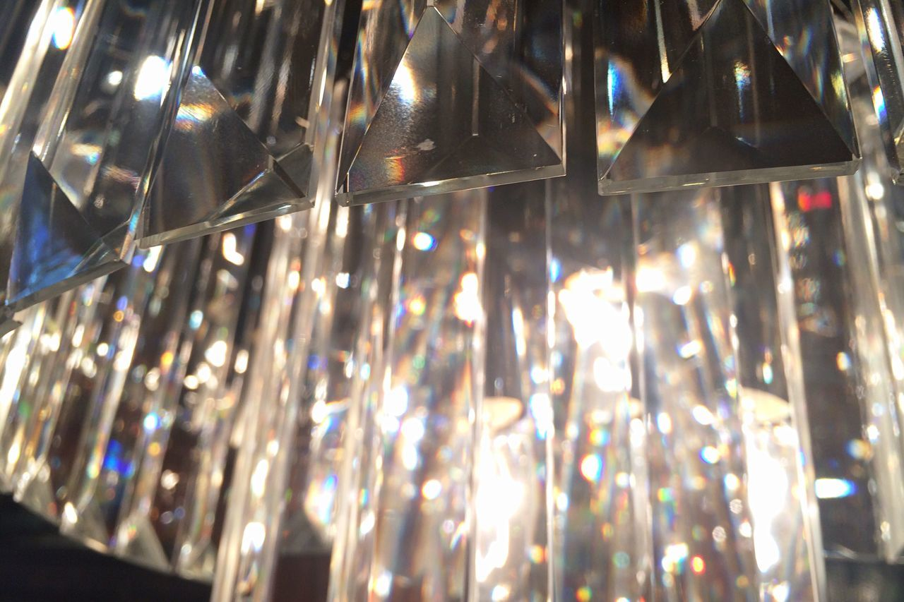 Close-up of crystal chandelier
