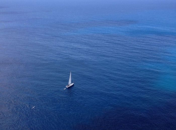 Aerial view of sailboat on sea