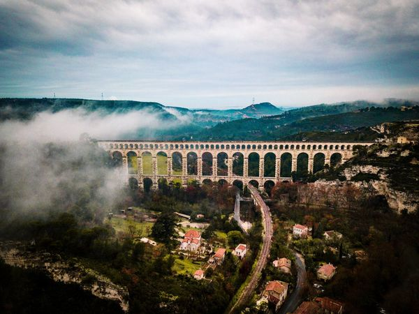 Hogwarts magic ✨ Aqueduct Meteorologicalphenomenon Landscape Touristattraction Landmark Bridge ProvenceMyLove Topprovencephoto Dronephotography Aerialphotography Droneoftheday Landscape_Collection Landscape_photography Drone  Dronephotography Droneshot Aerial View Mountain Sky Architecture Cloud - Sky Countryside Coast Historic Foggy Scenics Non-urban Scene Tranquil Scene Calm Idyllic