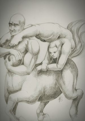 Sketch Drawing The contorted rider. Fantasy Art