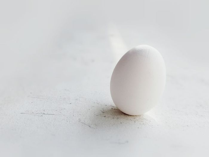 Close-up of egg on white table