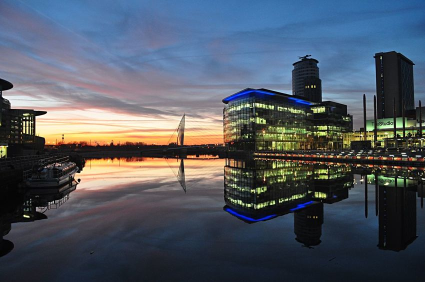 Urban Landscape Modern Architecture Sunset_collection Nightphotography Media City Salford Reflection Sky Architecture Building Exterior Water Built Structure Colour Your Horizn Nature Urban Skyline Night Symmetry No People City Modern Illuminated Sunset Travel Destinations Cloud - Sky Skyscraper Waterfront