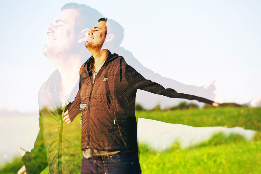 Day Diet Double Exposure Emotions Enjoy Feeling Good Finance Fitness Happiness Happy Health Healthy Life Lifestyles Man Men Nature Outdoors Outstretched Raised Sport Success Wellbeing Young Adult Young Men