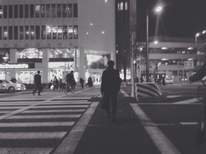 Night Night Lights Nightphotography Night Photography Night View Nippon Nippon Photography Lovely Japan Japan Man On The Road Shadow Shades Of Grey Sb's Back Nagoya