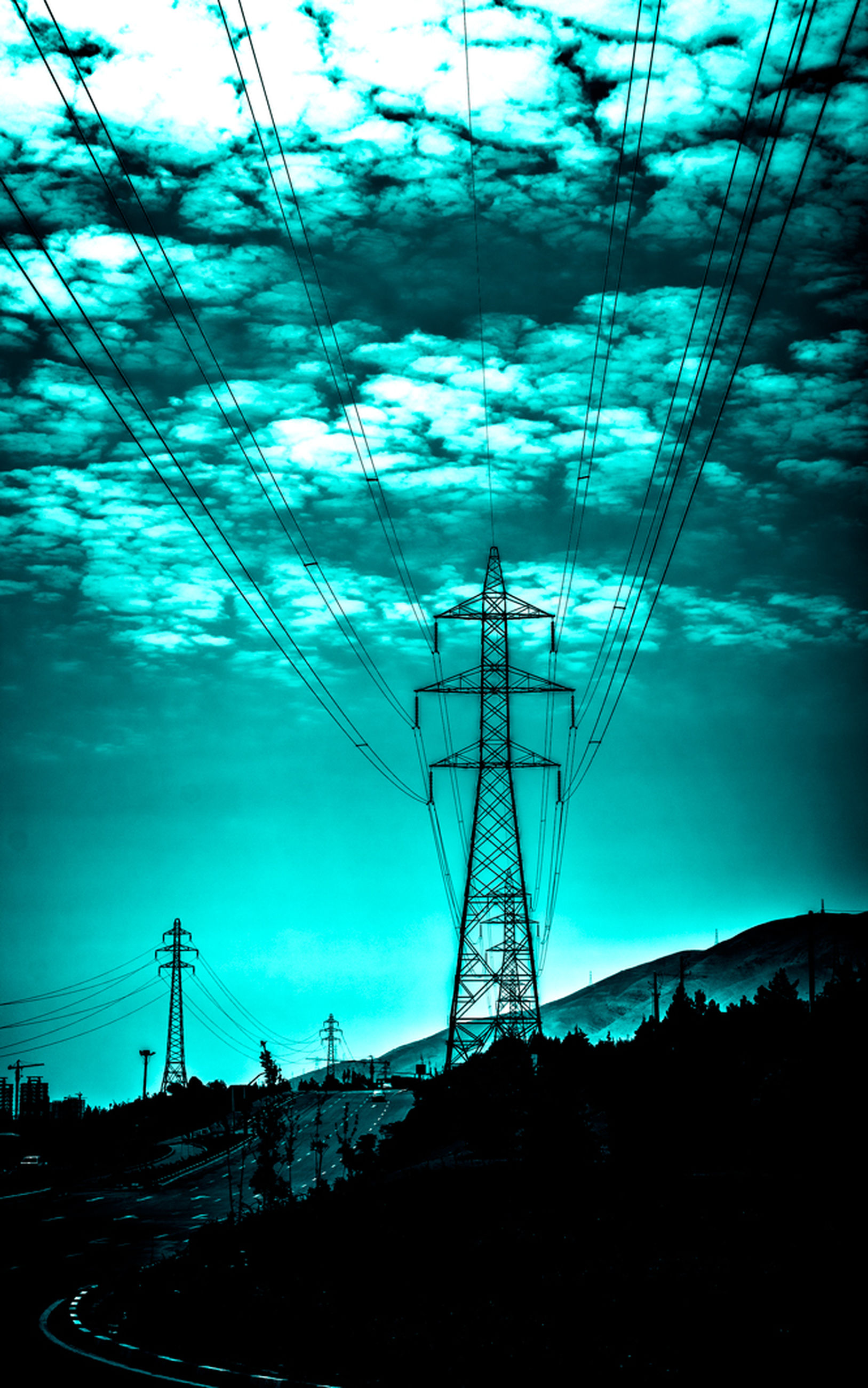 electricity pylon, power line, electricity, power supply, connection, fuel and power generation, technology, cable, sky, silhouette, low angle view, cloud - sky, power cable, blue, outdoors, no people, dusk, nature, sunset, cloud