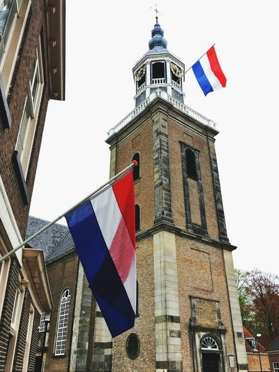 Bevrijdingsdag  Flag National Icon Low Angle View Netherlands Churchtower 5may2017