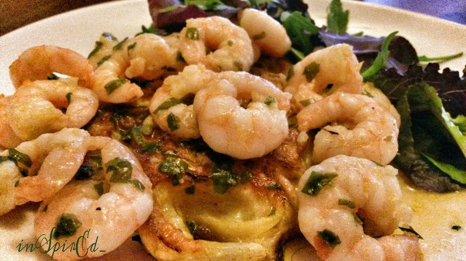 Lunch, onion cake and prawns in wild garlic butter. Out Of My Cauldron SZeaglesoul The Ville