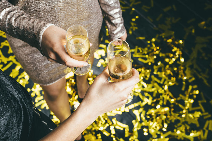 Above Alcohol Celebration Celebratory Toast Champagne Close-up Confetti Drink Drinking Drinking Glass Friendship Girls Gold Colored Happy Hour High Angle View Holding Human Hand Lifestyles Party - Social Event People Togetherness Weekend Women Fresh On Market 2017
