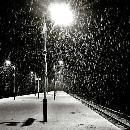 Snow, weather, train, station