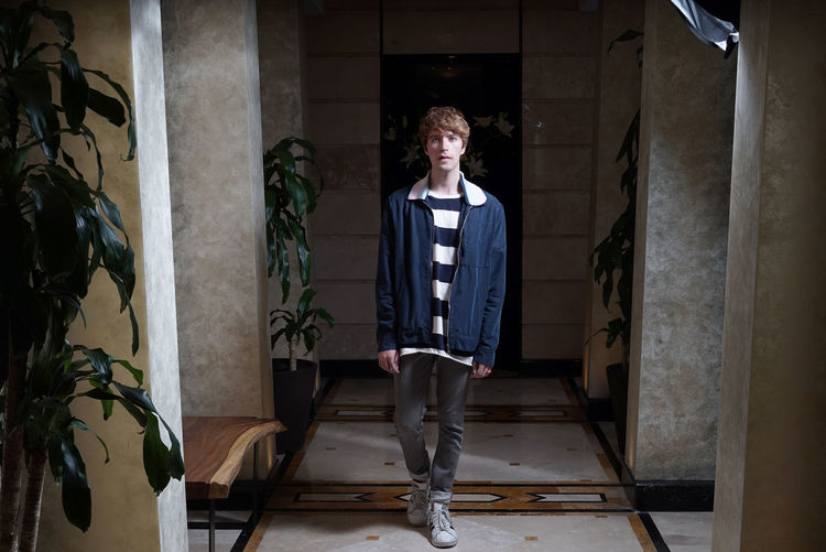 One Person Real People Full Length Casual Clothing Architecture Standing Young Adult Indoors  Building Lifestyles Front View Young Men Built Structure Home Interior Teenager Architectural Column Marble Corridor Artsy Fashion Fashion Model Blogger Stylish Denim Men Flooring