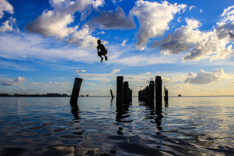 Jump Water Sky Cloud - Sky Nature Reflection Sea Architecture