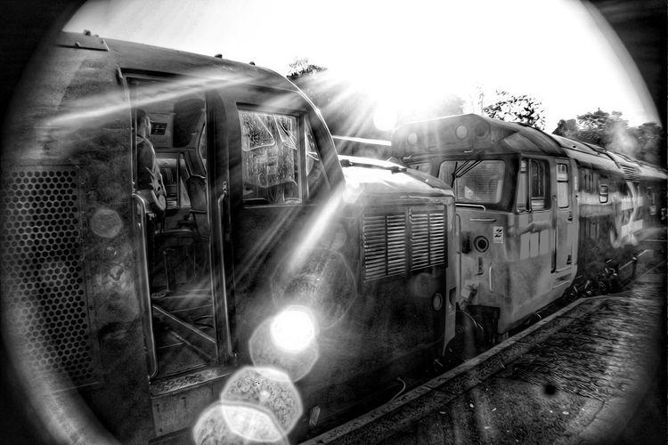 Black And White Detail Bodmin And Wenford Railway Class 50 Class 37 Locomotive Steam Train Train - Vehicle Public Transportation Land Vehicle Rail Transportation Illuminated Lens Flare Sky