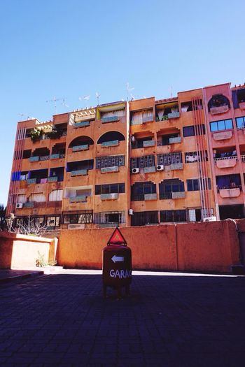 Roadclosed Garage Apartment Red Blue Marrakech Morocco Traveling