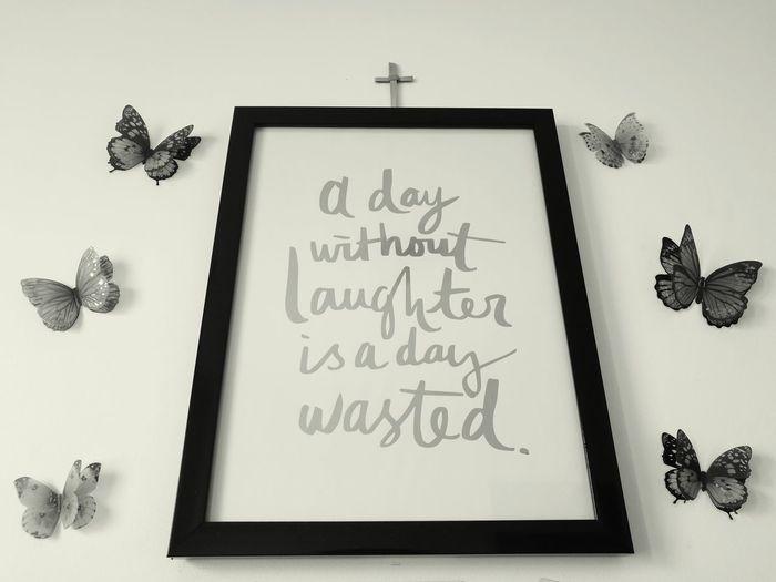 Quote Blackandwhite Indoors  Homedecor First Eyeem Photo Butterflies Walldecoration Cross