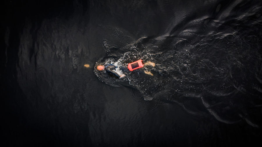 Aerial view of person swimming in water