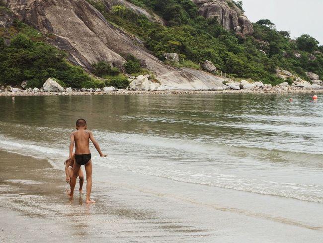 Bromance Playing Fighting Beach