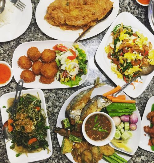 Food Plate Food And Drink Freshness Serving Size Salad No People Indoors  Variation Healthy Eating Ready-to-eat Broccoli Day Thaifood Thai Food Thai Omelette Numprik Krapi Jasmine Rice