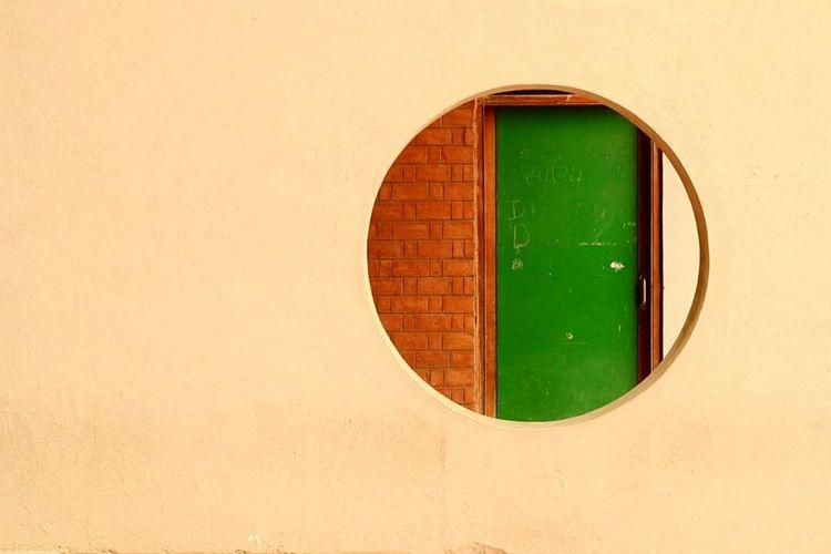 Green Color Full Frame Architecture Geometric Shape Vibrant Color Circle