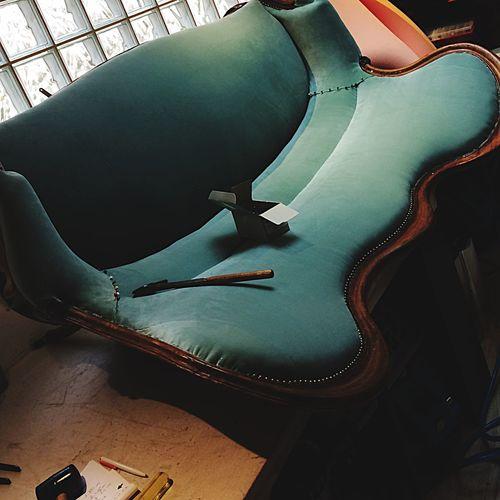 Louis XVI Canapé Tapisserie Clou Marteau Bleu Sofa Arts Culture And Entertainment Sitting No People Day
