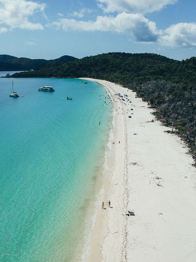 Whitsundays Whitsunday Islands Water Sea Beach Land Sky Cloud - Sky Scenics - Nature Nautical Vessel Beauty In Nature Nature Transportation Tranquil Scene Tranquility Sand Day Mode Of Transportation Outdoors Travel Turquoise Colored Sailboat Australia