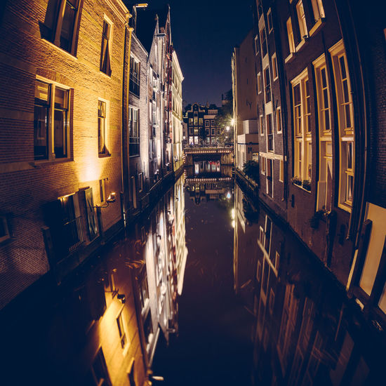 Amsterdam Architecture Beautiful Canal City Holland Long Exposure Moonlit Netherlands Night Night Photography Panorama Wide Angle