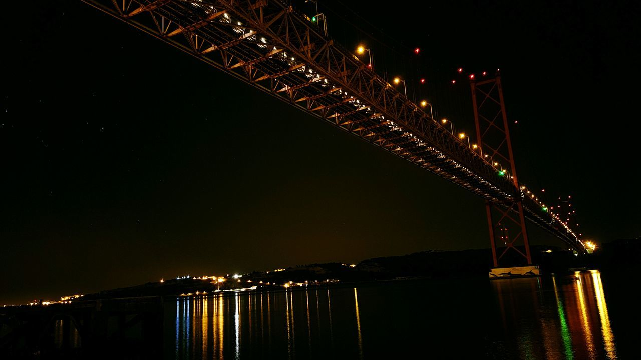 night, illuminated, connection, bridge - man made structure, architecture, built structure, river, suspension bridge, outdoors, no people, transportation, sky, low angle view, water, clear sky, chain bridge