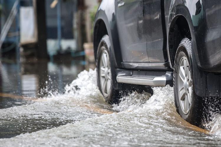Water flowing through car