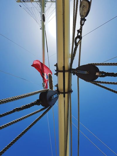 look up to the sky while floating in the sea Sea Seafarer Seafaring Square Rigger Square Rigged Sailor Marine Maritime Nautical Nautical Vessel Nautical Equipment New Zealand Flag Flags In The Wind  Auckland Harbor Sky Blue Sky Sunlight Sunshine Sunny Day Ship Sailboat Tall Ship Summer Exploratorium