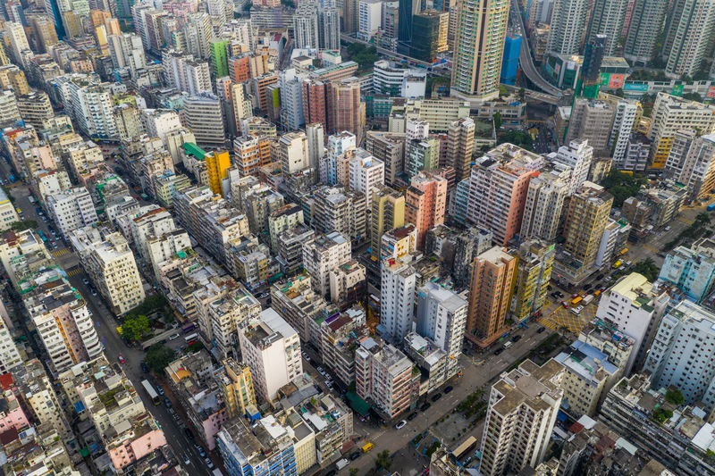 Aerial view of modern cityscape