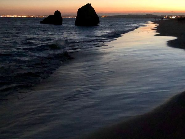 Beach Water Sea Beauty In Nature Sky Beach Sunset Scenics - Nature Land Tranquility Tranquil Scene Nature Horizon No People Horizon Over Water Silhouette Idyllic Dusk Outdoors Rock