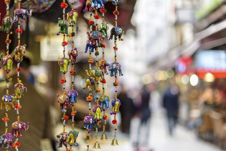 Close-Up Of Decorations For Sale At Street Market